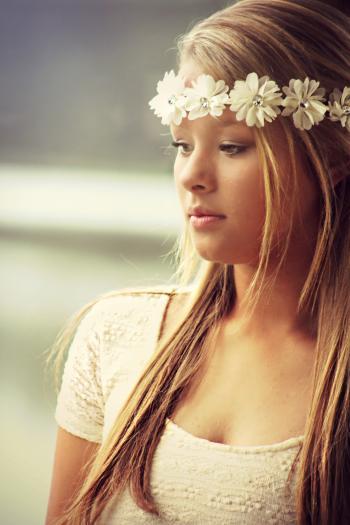 Woman Wearing Floral Headdress