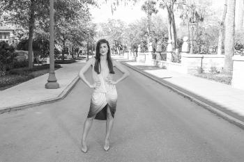 Woman Wearing Ombre Sleeveless Dress Grayscale Photography