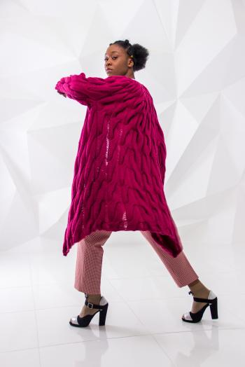 Woman Wearing Pink Knitted Coat