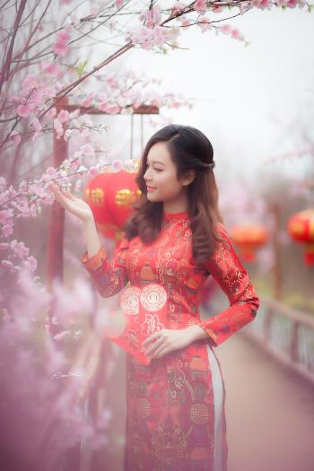 Woman Wearing Red Chinese Traditional Dress