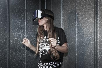 Woman Wearing Virtual Reality Glasses