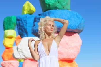 Woman Wearing White Halter Dress