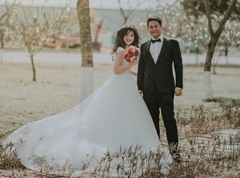 Woman Wearing White Wedding Ball Beside Man Wearing Black Notch-lapel Suit on Pathway Near the Green Grass Field