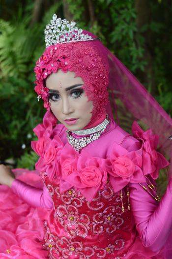 Woman Wears Pink Long-sleeved Dress With Crown
