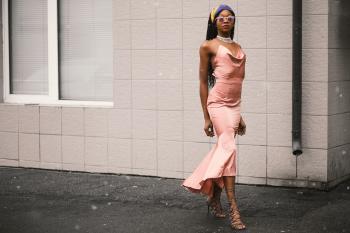 Woman Wears Pink Spaghetti-strap Dress