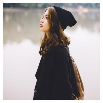 Woman With Black Knit Hat