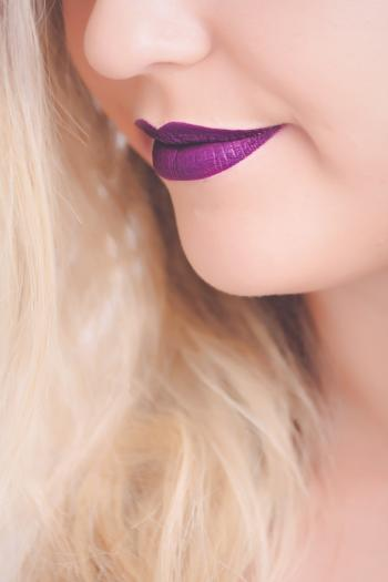 Woman With Purple Lipstick