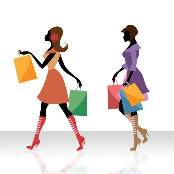 Women Shopping Indicates Retail Sales And Adult