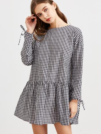 Women's Black and White Checked Dress