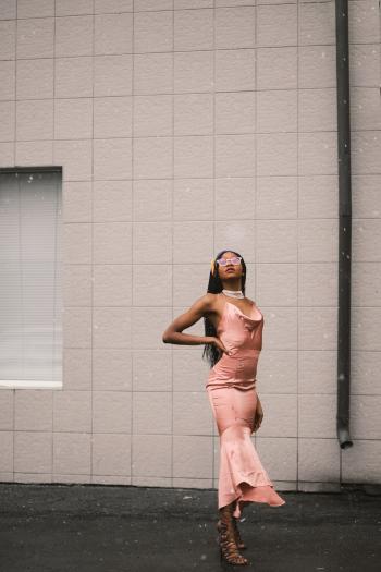 Women's Pink Spaghetti Strap Sheath Dress