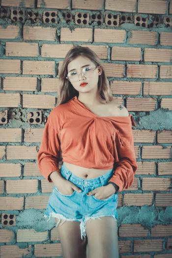 Women's Red Off-shoulder Long-sleeved Top and Blue Denim Cut-off Miniskirt