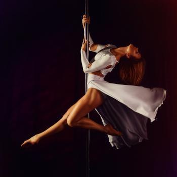 Women's White Crew Neck Long Sleeve Dress Dancing on Stainless Steel Pole
