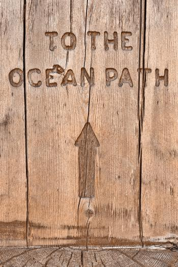 Wood Ocean Path Sign - HDR
