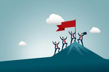 Work and Business Success and Achievement - Men Conquering Mountain