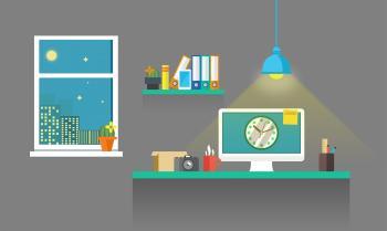 Work Desk - Working Till Late - Illustration