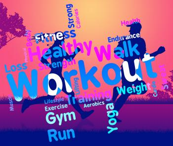 Workout Words Shows Get Fit And Exercising
