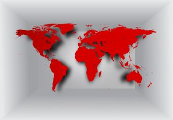 World map on 3D background