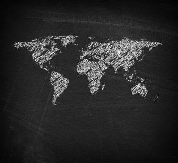 World map on blackboard - Sketchy looks