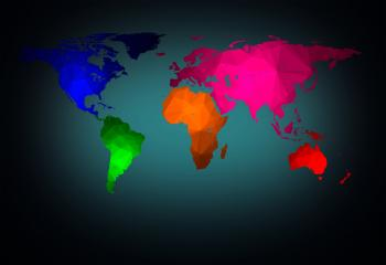 World map with modern triangle pattern
