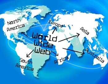 World Wide Web Shows Searching Globalize And Online