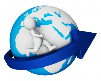 Worldwide Globe Means Render Globally And Globalisation 3d Rendering