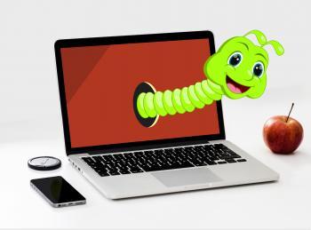 Worm Cartoon and Apple