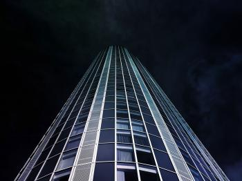 Worm's Eye View of High-rise Building during Nighttime