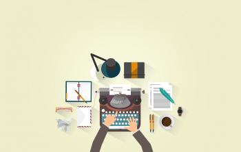 Writer Typing - Typewriter - Work Desk - Author
