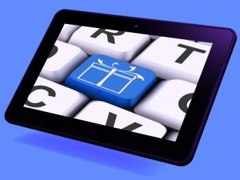 Xmas Present Key Tablet Means Happy Christmas