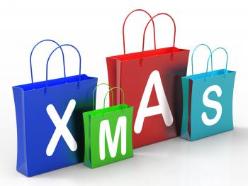 Xmas Shopping Bags Show Retail Stores Or Buying