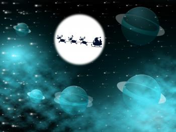 Xmas  Shows Full Moon And Christmastime