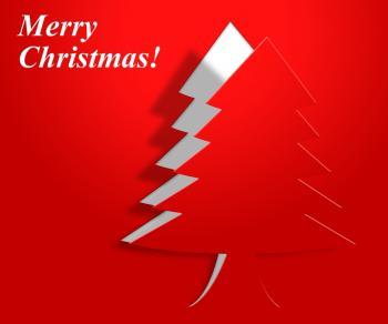 Xmas Tree Indicates Merry Christmas And Greeting