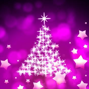 Xmas Tree Represents Bokeh Lights And Color