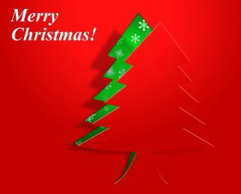 Xmas Tree Represents Congratulation Holiday And Seasonal