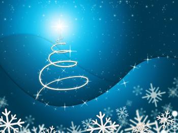 Xmas Tree Represents New Year And Backdrop