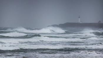 Yaquina lighthouse winter storm, Oregon