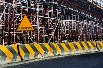 Yellow And Black Road Concrete Barrier