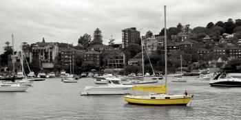 Yellow boat in Double Bay