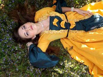 Yellow Dressed Woman on Green Leafed Plant
