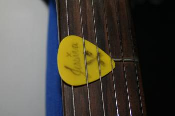 Yellow guitar pick