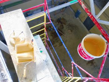 Yellow paint on work platform