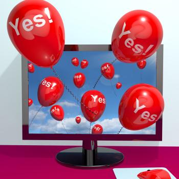 Yes Balloons From A Computer Showing Approval And Support Message Onli
