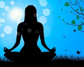 Yoga Pose Shows Meditate Calm And Harmony