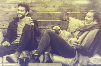 Young Couple Smiling and Relaxing - Vintage Looks