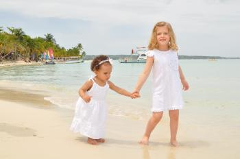Young girls at the beach