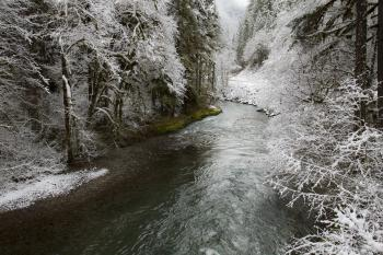 Yukwah recreation area in snow, Oregon