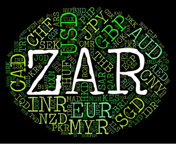 Zar Currency Represents South African Rands And Banknote