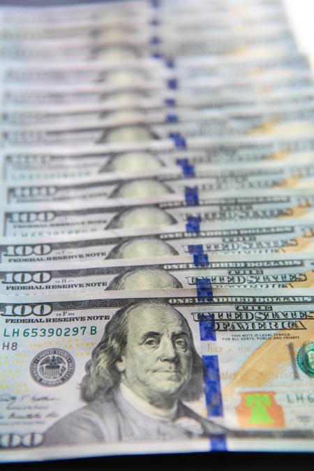 100 Dollar Bills Close-up