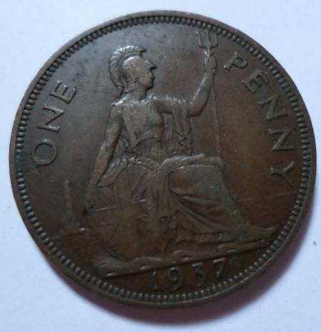 1937 One penny coin