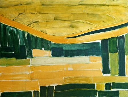 1990 - 'Abstract landscape with Sunlight', large abstract painting; artist Fons Heijnsbroek, The Netherlands - A high resolution art image in free download to print, in public domain / Commons, CC-BY.